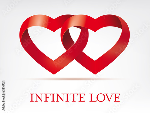 Infinity ribbon intertwined hearts vector template