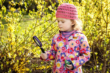 Little girl with magnifying glass exploring laburnum