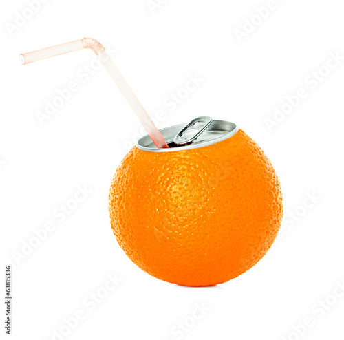 fresh orange juice in a tin