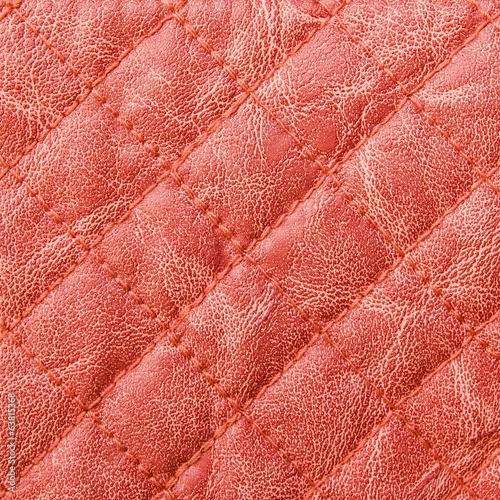 Red stitched leather texture background
