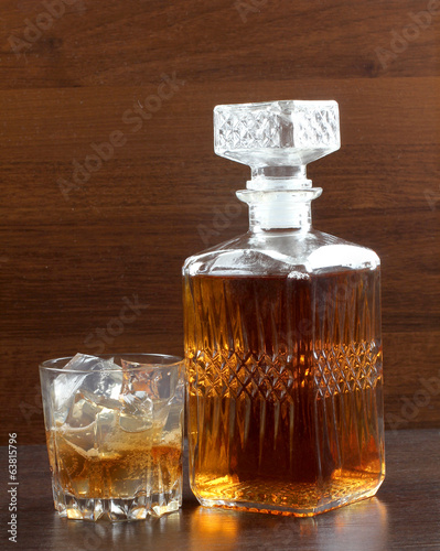 Ice glass on wood