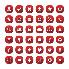 Red rounded square long shadow style icons