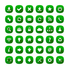 Green rounded square long shadow style icons