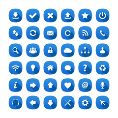 Blue rounded square long shadow style icons