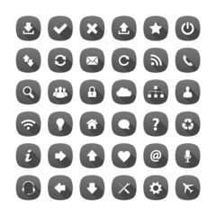 Grey rounded square long shadow style icons