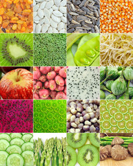 Corn, sunflower seeds, pumpkin seeds, raisins, kiwi, Broccoli ,