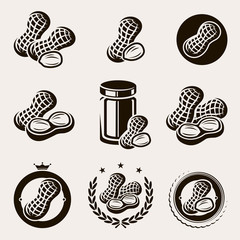 Peanuts label and icons set. Vector