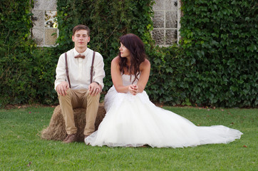 Hillbilly hipster vintage bride and groom outside church
