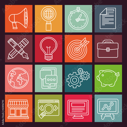 Vector internet marketing icons in flat style