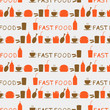 Seamless background of fast food icons