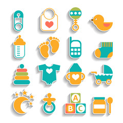 Set of baby icons isolated on a white background