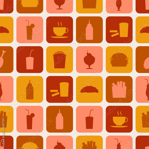 Seamless pattern of fast food icons