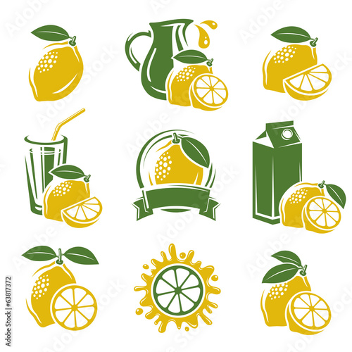 Lemon labels and elements set. Vector