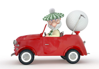 3d little man golfist  by car.