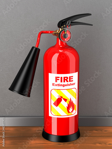 Extinguisher in room. Concept