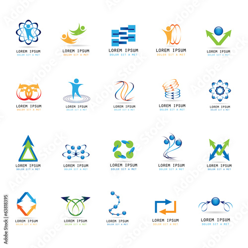 Abstract Icons Set - Isolated On White Background