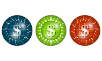 set of three colored icons with dollar sign