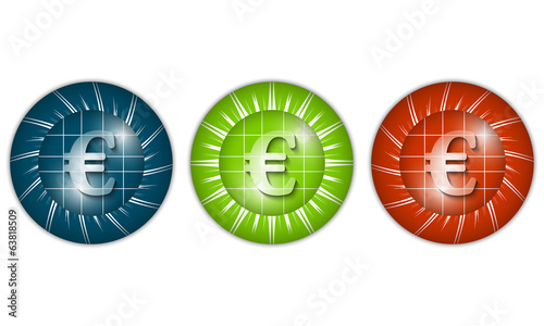 set of three colored icons with euro sign