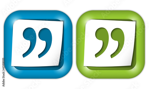 set of two icons with paper and quotation mark