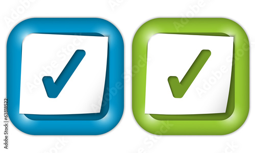 set of two icons with paper and check box