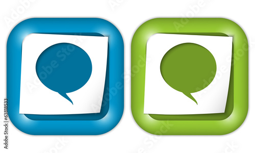 set of two icons with paper and speech bubble