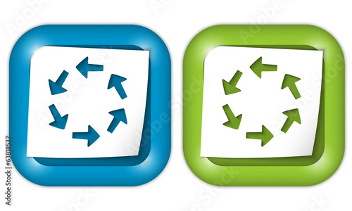 set of two icons with paper and arrows
