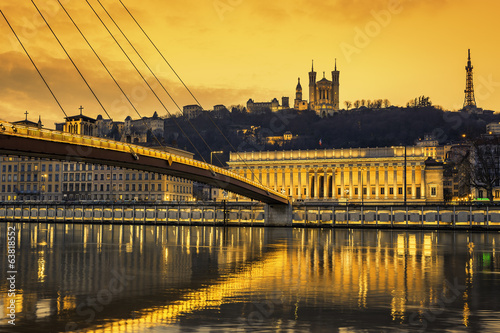 View of Saone river at Lyon at sunset