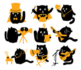 Set Of Black Cats. Creative Professions