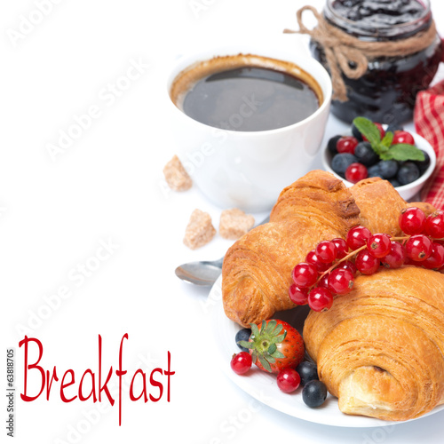 delicious breakfast with croissants and jam, isolated