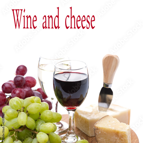 grapes, cheese and two glasses of wine, isolated