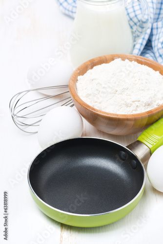 ingredients for a batch of pancakes