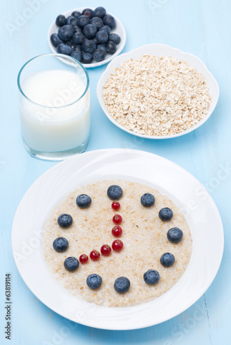 oatmeal with berries in the form of dial, vertical