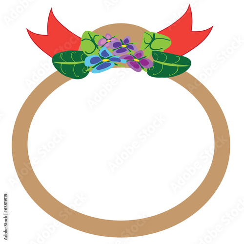 Violet flowers, brown circle frame