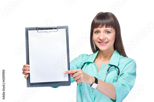 Young woman medical doctor with notebook