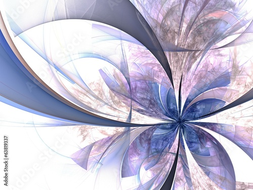 Symmetrical blue fractal flower, digital artwork