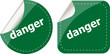 danger word on stickers web button set, label, icon