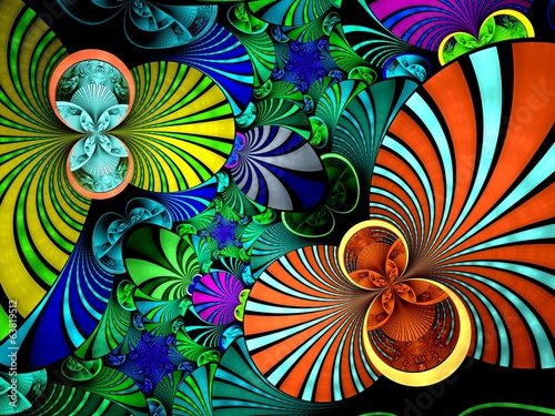 Abstract fractal image colorful star twin spirals