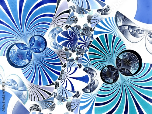 Abstract fractal image blue star twin spirals
