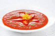 tomato and strawberry gazpacho, horizontal close-up