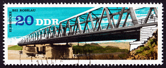 Postage stamp GDR 1976 Elbe River Bridge, Rosslau