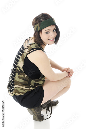 Squatting Combat Girl