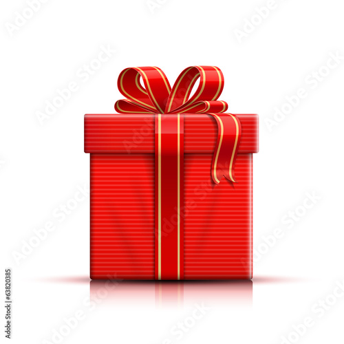 Stripped red giftbox with ribbon