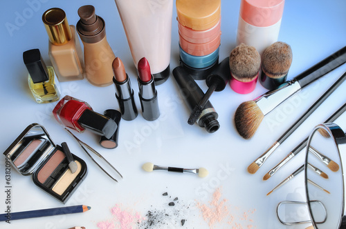 makeup set on table top view