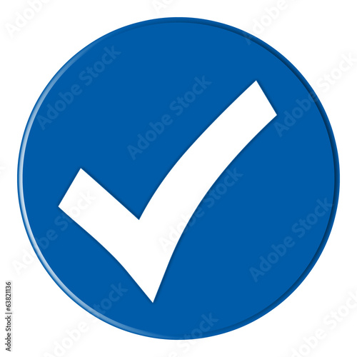 canvas print picture Button - Hakensymbol - blue - g823