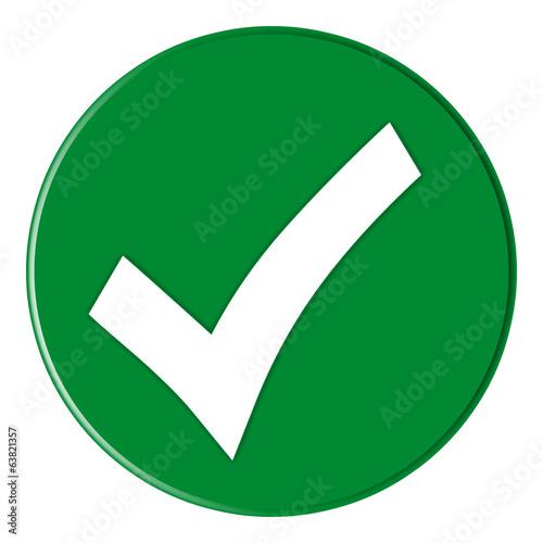 canvas print picture Button - Checksymbol - green - g824