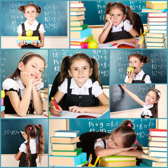 Collage of school girl close-up
