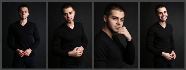 Snapshot of model. Handsome man on black background