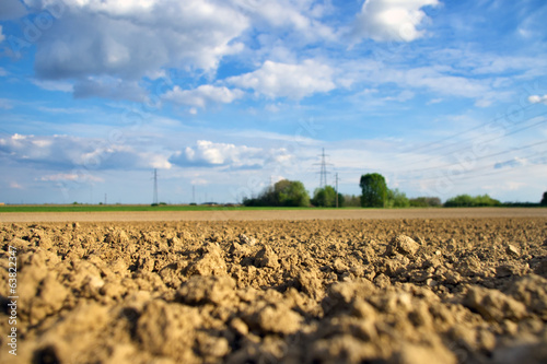 Soft focus soil detail on dry agriculture field
