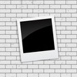 Instant Photos on Grunge Brick Background Vector Illustration