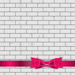 Background of Brick Wall Texture with Bow and Ribbon Vector Illu